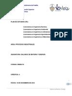 INQM 016 Balances de Materia y Energia