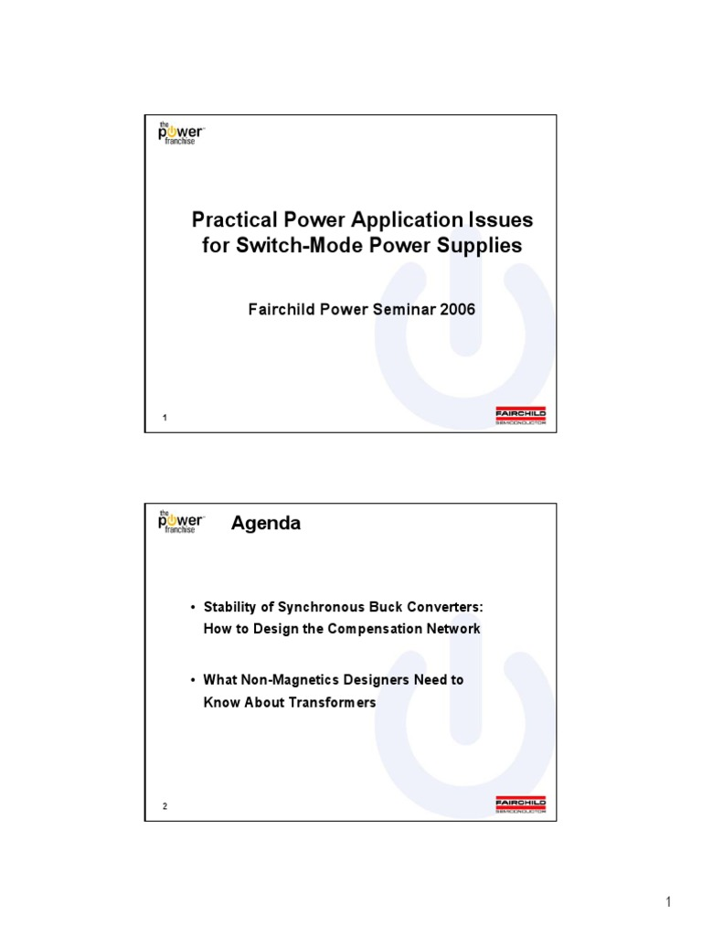 Practical Power Application Issues For Switch Mode Supplies Synchronous Buck Converter Design Ppt Bandwidth Signal Processing Amplifier