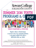 Rowan College at Burlington County Summer 2016 Youth Programs & Clinics