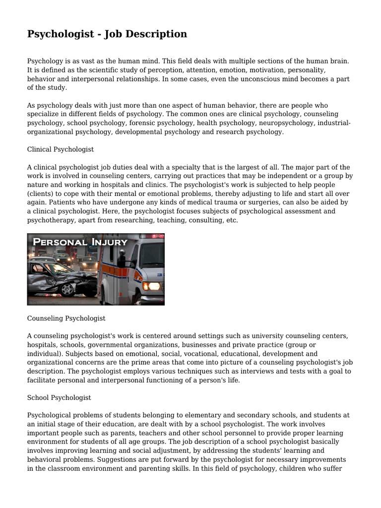 Psychologist Job Description School Psychology Clinical Psychology