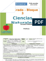 Plan 4to Grado - Bloque 3 Ciencias Naturales (2015-2016)