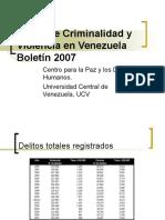 Cifras de Criminalidad y Violencia en Venezuela 2007