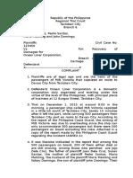 Complaint for Damages (Culpa Contractual)