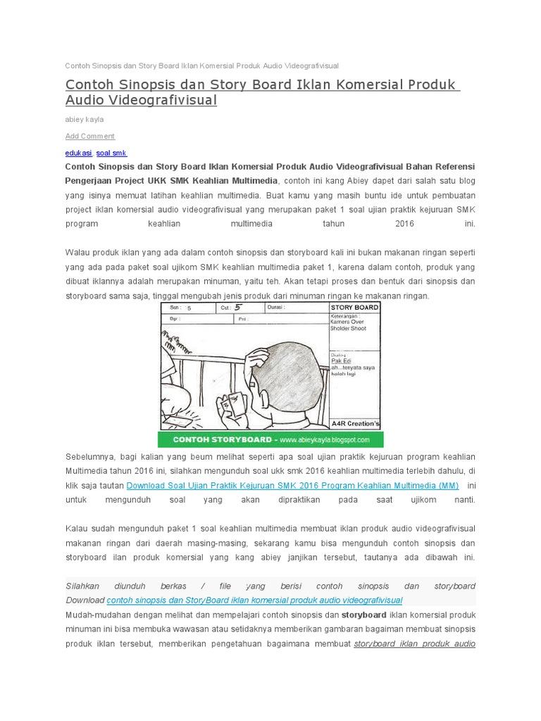 Contoh Sinopsis Dan Story Board Iklan Komersial Produk Audio