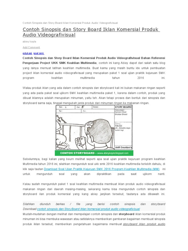 Contoh Sinopsis Dan Story Board Iklan Komersial Produk Audio Videografivisual