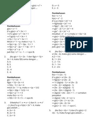 Soal Matematika Fungsi Komposisi Docx