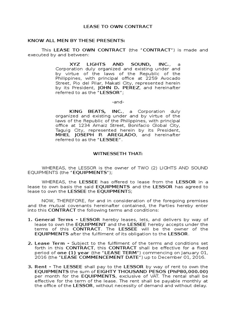 Areglado   Lease To Own Contract   Lease   Legal Concepts