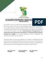 Acta de Cierre de IMPUGNACIONES Al Proceso de Postulaciones Cmvea 2010