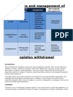 Treatment of opiate withdrawal Table