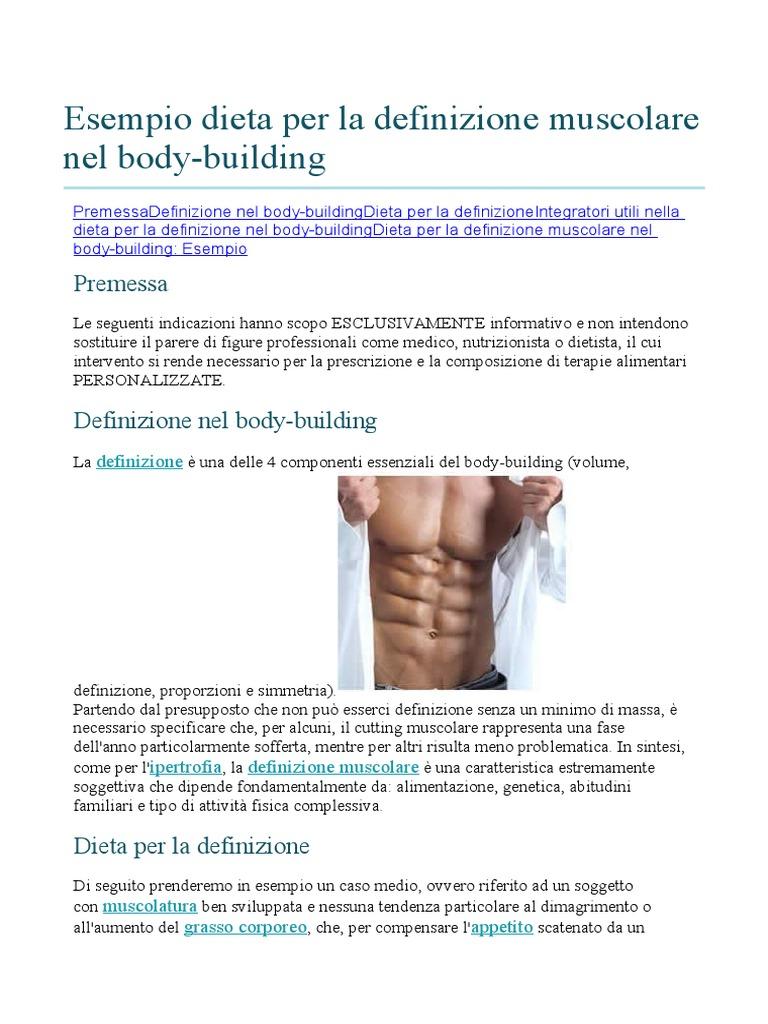 esempio di dieta normale o basale
