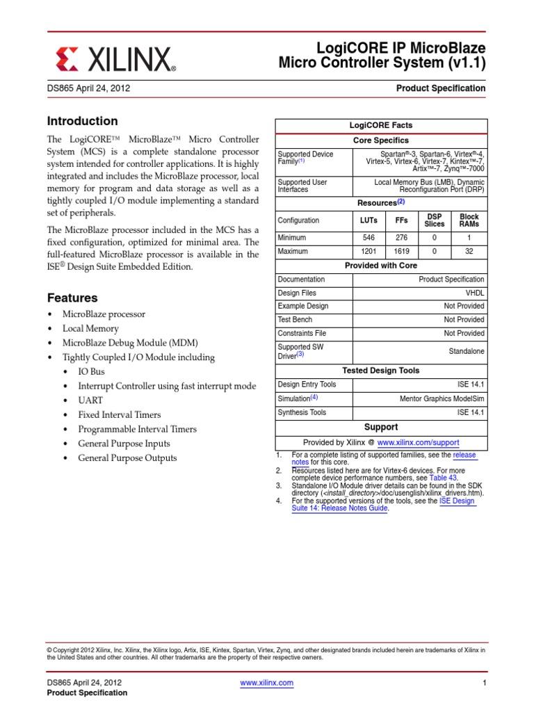 Microblaze Logicore IP Ds865_microblaze_mcs | Microcontroller