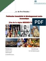 Le Patrimoine Immatériel Et Développement Socio-éco
