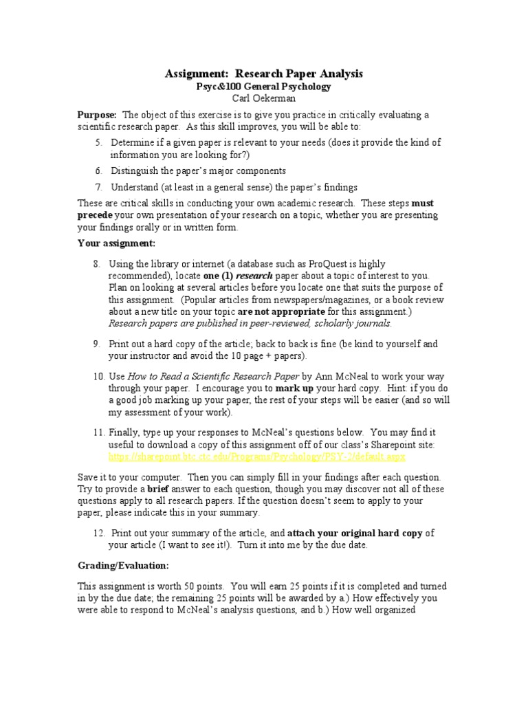 research paper analysis of findings