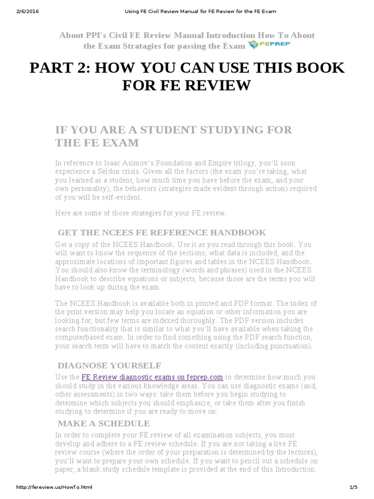 Using FE Civil Review Manual for FE Review for the FE Exam | Test  (Assessment) | Lecture