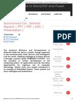 Autonomous Car , Seminar Reports _ PPT _ PDF _ DOC _ Presentation _ - Seminar Report,PDF,PPT,Doc,Topics,Free Download