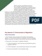 Communication in Negotiation