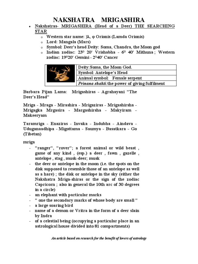 Nakshatras mrigashira deer astrology biocorpaavc