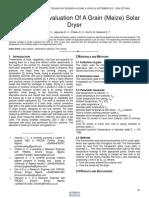 Performance Evaluation of a Grain Maize Solar Dryer