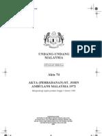 Akta 74, Akta (Perbadanan) St. John Ambulans Malaysia 1972