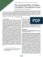 The Study of the Insecticidal Effect of Nigella Sativa Essential Oil Against Tuta Absoluta Larvae