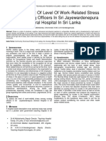 An Assessment of Level of Work Related Stress Among Nursing Officers in Sri Jayewardenepura General Hospital in Sri Lanka