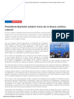 Presidenta Bachelet Celebró Inicio de La Nueva Justicia Laboral - Portal Institucional. Dirección Del Trabajo. Gobierno de Chile