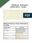 List of Medical Entrance Exams 2016