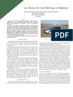 Radar-Lidar Sensor Fusion for Car-Following on Highways