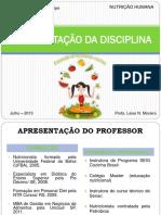 Apresentacao e Introdução Da Disciplina - Nutrição Humana