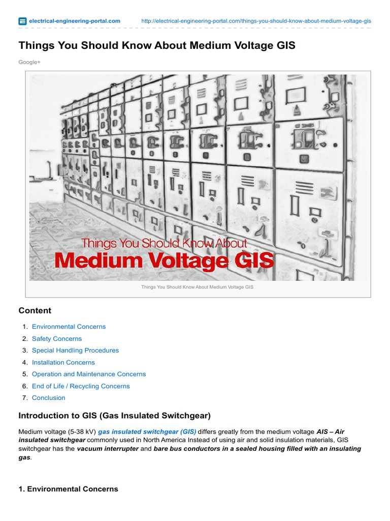 Things You Should Know About Medium Voltage GIS | Insulator