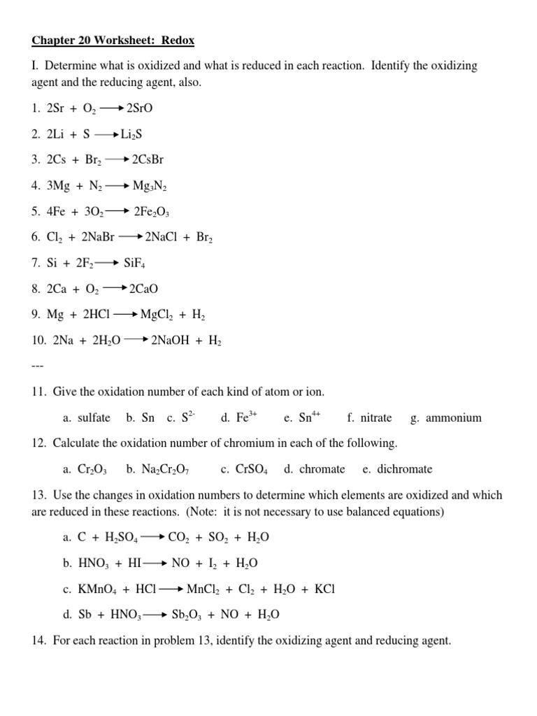 Worksheets Chapter 20 Worksheet Redox chapter 20 worksheet redox chemistry