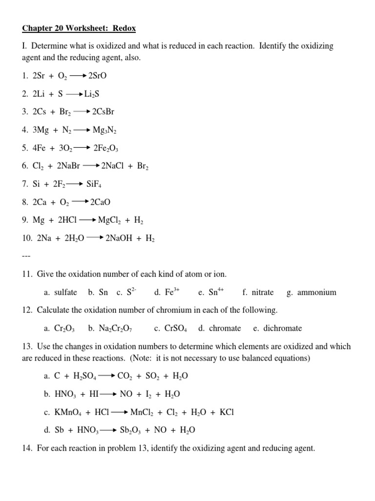 Chapter 20 Worksheet Redox Redox – Oxidation Numbers Worksheet