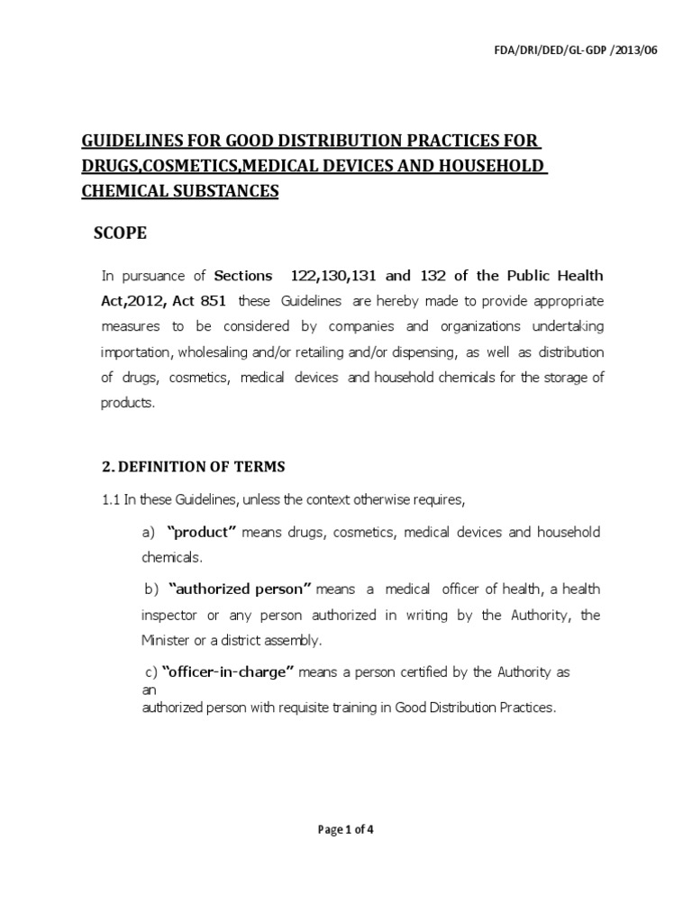 Guidelines for Good Distribution Practices for Drugs