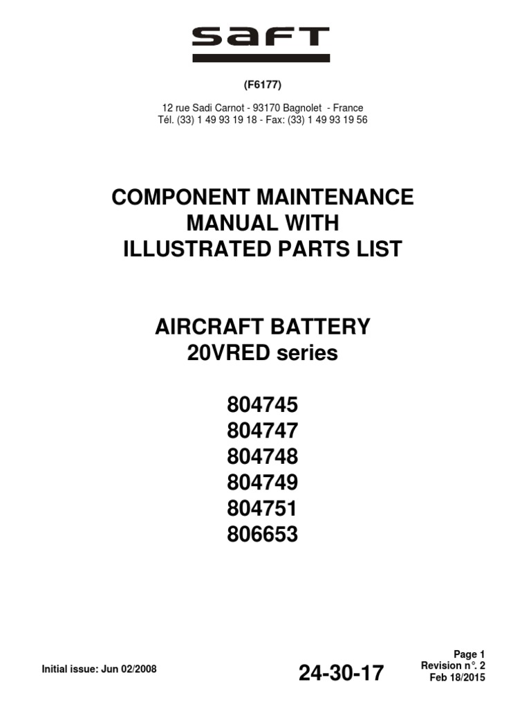 saft battery maintenance manual battery electricity engineering rh scribd com component maintenance manual 26-12-38 component maintenance manual ata