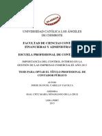 IMPORTANCIA DEL CONTROL INTERNO EN LA GESTIÓN DE LAS EMPRESAS COMERCIALES AÑO 2013