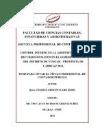 CONTROL INTERNO EN LA ADMINISTRACIÓN DE RECURSOS HUMANOS EN EL GOBIERNO LOCAL DEL DISTRITO DE YUNGAR – PROVINCIA DE CARHUAZ 2013