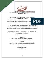 LA PARTICIPACIÓN DEL CONTROL INTERNO EN LA GESTIÓN ADMINISTRATIVA Y CONTABLE DE LAS EMPRESAS CONSTRUCTORAS DEL PERÚ, 2013.