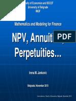 NPV Calculations, Annuities, Perpetuities-Irena Jankovic-CFA, Prmia
