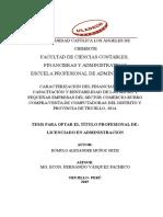 CARACTERIZACIÓN DEL FINANCIAMIENTO, CAPACITACIÓN Y RENTABILIDAD DE LAS MICRO Y PEQUEÑAS EMPRESAS DEL SECTOR COMERCIO-RUBRO COMPRA/VENTA DE COMPUTADORAS DEL DISTRITO Y PROVINCIA DE TRUJILLO, 2014.