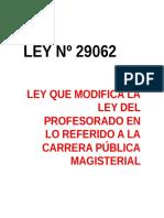 Ley Nº 29062 - Modifica Ley Del Profesorado