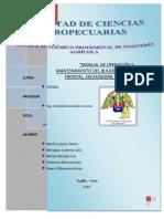 """MANUAL DE OPERACIÓN Y MANTENIMIENTO DEL BULDOZER, CARGADOR FRONTAL, EXCAVADORA, VOLQUETE"""""""