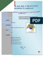 """TIPOS DE SERVICIO DE LA MAQUINA TRACTOR AGRICOLA Y OTROS"""""""