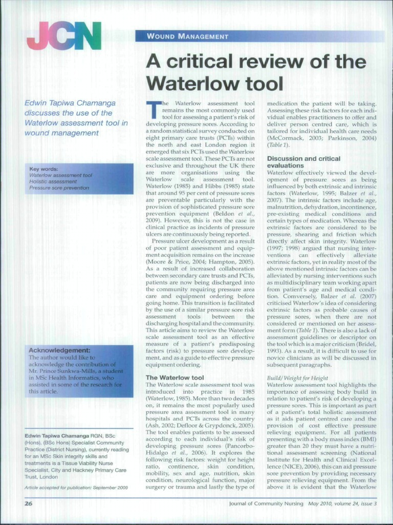 waterlow risk assessment tool