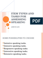 Item Types and Tasks for Assessing Speaking