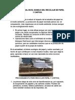 Analisis Integral en El Manejo Del Reciclaje de Papel y Carton