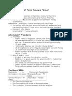 SS Final Review Sheet