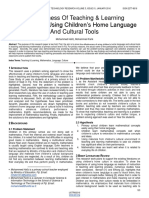 Effectiveness of Teaching Learning Mathematics Using Childrens Home Language and Cultural Tools