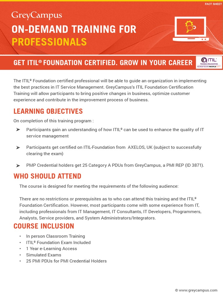 Itil Course Agenda Ct V4 1 Itil Professional Certification