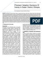 Determinates of Farmers Adoption Decisions of Improved Seed Variety in Dabat District Ethiopia