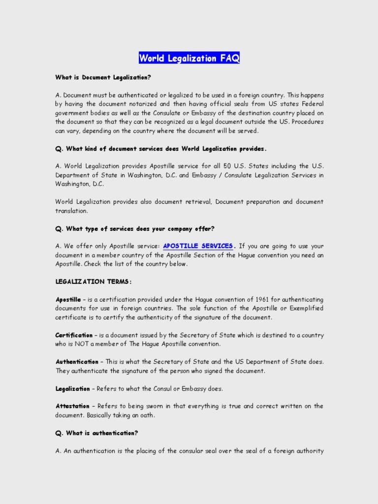 World Legalization FAQ Document Authentication UAE Algeria - Us legal documents